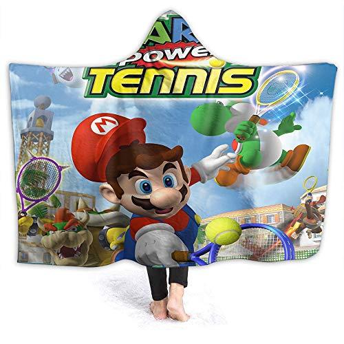 QIAOQIAOLO Super Mario strapazierfähige Decke mit Kapuze, Mario Power Tennis, leicht, tragbar, Überwurf, Erwachsenengröße, 203 x 152 cm