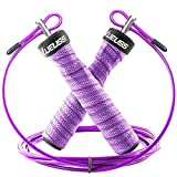 MUEUSS Jump Rope Adjustable Skipping Ropes-Groove Sweatband Handles for Kids,Men,Women-Jumping Ropes with Steel Ball Bearings for Crossfit Training,Cardio,Endurance Training,Fitness Workouts (Purple)