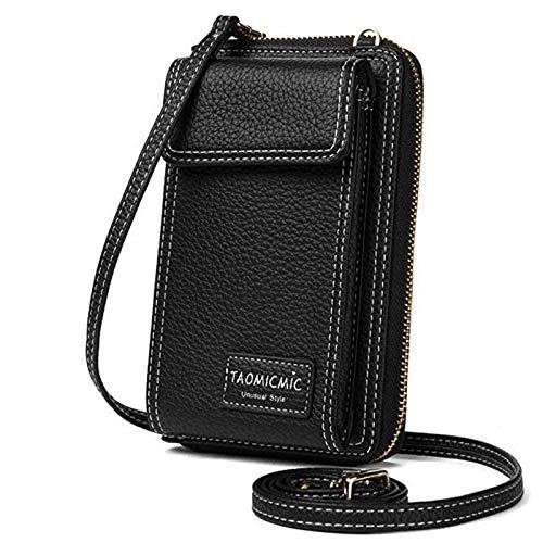 Women Crossbody Cell Phone Bag Small Shoulder Purse Leather Travel RFID Card Wallet Case Handbag Phone Pocket Baggap Clutch for iPhone 11 Se 2020 11 Pro Xr X Xs Max 8/7/6 Plus Samsung (Black)