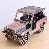 Générique Vintage Fer forgé Jeep Fer Voiture métal modèle de décoration de la Maison Ornements ameublement de Bureau de Bureau Haut de Gamme
