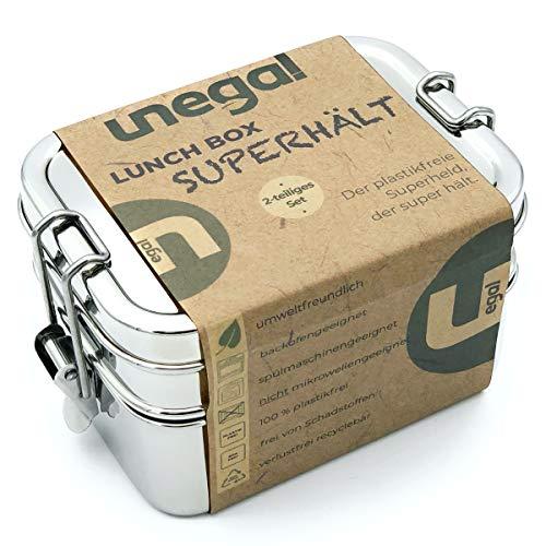 unegal®   Lunchbox SUPERHÄLT   plastikfrei mit 2 Fächern   1000ml Edelstahl Brotdose   Bento-Box Set auch ideal für Kinder   18/8 Edelstahl Brotbox mit stabilen Clips   ECO & BPA-frei