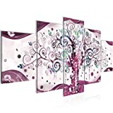 Runa Art - Quadri Gustav Klimt Albero Della Vita 200 x 100 cm 5 Pezzi XXL Decorazione Murale Design Rosa 003051c