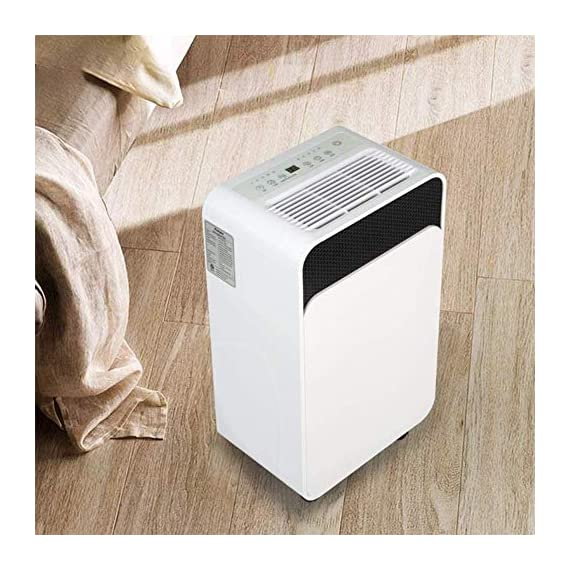 WQSFD 30Pint Dehumidifiers 4 Gallons/Day Intelligent Humidity Control for Space Up to 1000 Sq Ft for Home Basements… 4 30 Pints Dehumidifier: With removal capacity of up to 30 pints of water per day (under 90% RH @ 95°F condition), this energy-efficient dehumidifier is ideal to dehumidify damp rooms up to 1056 sq ft, like attics, basements, bathrooms, laundry room, garages, and even campers or RV. Easy-to-use Dehumidifier: With a built-in humidistat, this smart dehumidifier will AUTO-STOP when set humidity level has been met and AUTO-RESTART when room humidity goes up again. The switchable fan speed add flexibility and the programmable 24H ON/OFF improves energy savings. User-friendly Drainage Options: This small dehumidifier will auto shut off when the 4-Pint (0.5 Gal.) water reservoir is full and audibly alert you to empty it. Too busy to empty it manually? This dehumidifier with drain hose (6.56-ft) allows you to simply attach the hose to achieve self-draining by gravity.