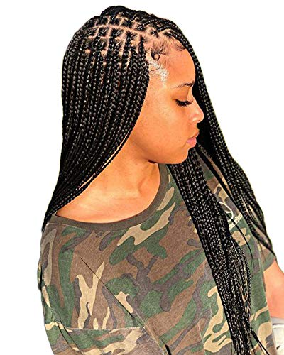 BENEFLY Full Lace Wig Box Braided Wigs Knotless Micro Braids Wigs Synthetic Hair 1b Off Black Color With Baby Hair (1B of Black)