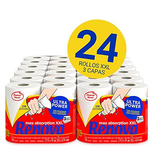 Renova Rollos de Cocina Renova UltraPower | 24 rollos XXL equivalentes a 60 rollos estándar | 3 capas ultra absorbentes y con máxima resistencia| Papel Certificado FSC®