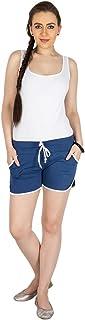 Campus Sutra Women's Cotton Chino Shorts ( SS15SOL_TSHORT_W_PLN_DN_XL _ Blue _ 34 )