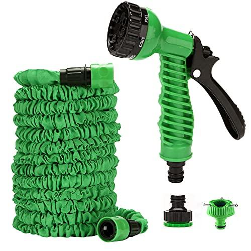 Golupie Manguera flexible de jardín, manguera mágica, manguera flexible de agua con ducha, extensible y resistente a la torsión, lavado de coche, adaptador de 1/2' y 3/4' (30 m)