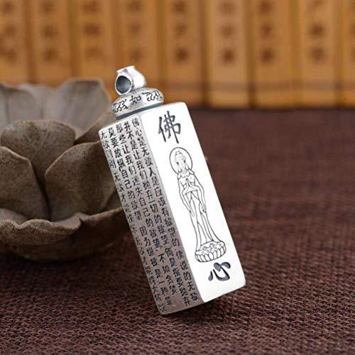 Reines Silber S990 Thai Silber Matt Buddha Bibel Günstigen Wunsch Anhänger Buddhistische Box, WOZUIMEI, Wie gezeigt, Pures Silber