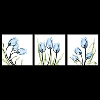 Biuteawal - Flower Canvas Prints Wall Art Decor Blue Elegant Tulip Painting Simple Life Picture 3 Piece Artwork for Living Room Bedroom Home Salon SPA Wall Decoration
