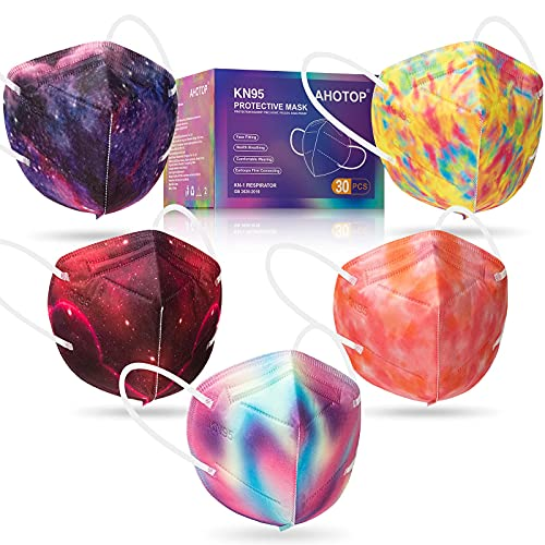 KN95 Face Masks, 30 Pack Breathable & Comfortable 5 Layers KN95 Mask, Muticolored Designer Face Mask for Women, Men, Filter Efficiency ≥95%