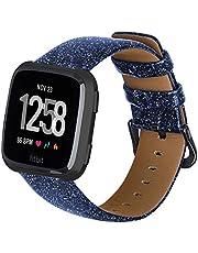 Aladrs Compatibel voor Fitbit Versa Band Mode Grain Leather Sequin Band Vervanging Sport Polsband voor Fitbit Versa 2 Band