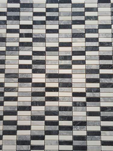 Naturstein Mosaik Fliesen Marmor in Schwarz Grau und Weiss im Format von 30 x 30 cm