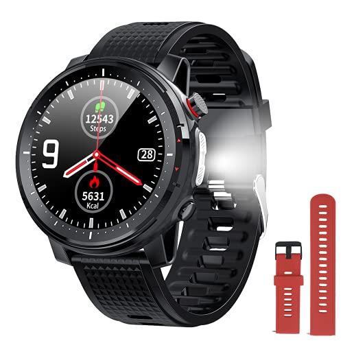 Reloj inteligente para hombre y mujer,con linterna eléctrica,presión de la frecuencia cardíaca,podómetro,monitor del sueño,IP68 impermeable,larga duración de la batería, para iOS Android
