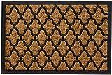 Tapis Felpudo de entrada de fibra de coco natural en caucho negro (patrón de cuadrícula) felpudo para la entrada