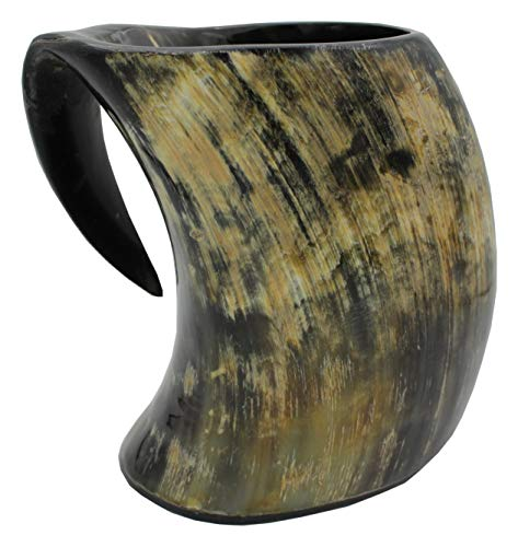 Genuine Viking Drinking Horn Mug Tankard handcrafted and natural finished   16 Ounces