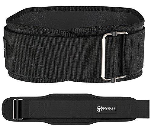 Iron Bull Strength Weight Lifting Belt for Cross Training - 5 Inch Self-Locking Weightlifting Back Support, Workout Back Support for Lifting, Fitness and Powerlifitng - Men and Women (Large, Black)