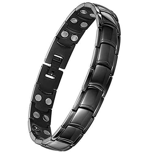 Jeracol Magnetic Bracelet Men Arthritis Bracelets for Pain Relief Black Magnetic Therapy Bracelet with Powerful Magnets Titanium Steel Magnetic Wristband with Removal Tool & Gift Box
