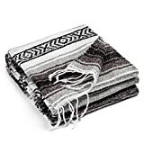 Authentic Mexican Blanket - Premium Yoga Blanket Beach Blanket - Perfect Picnic Blanket, Travel Blanket, Outdoor Blanket - Well Made Yoga Bolster (Gray)