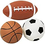 Click N' Play Pack of 3 Mini Sports Pack Ball, Football, Soccer Ball and Basketball