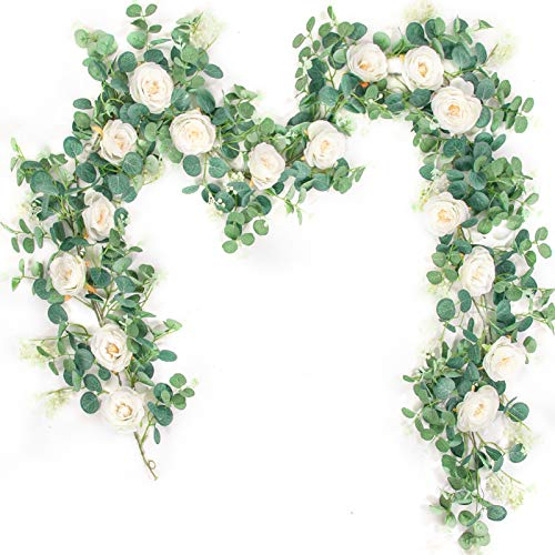 DerRose 2Pack 13ft Artificial Eucalyptus Flower Garland with White Fake Silk Flower Vine Eucalyptus Leaves Greenery Garland for Wedding Arch Table Decor