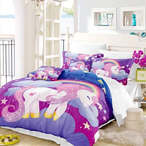 LanS Cartone animato unicorno serie Bedding Copripiumino e federa, camera da letto tre pezzi lenzuola bedding(copripiumino + 2 federe) Alta qualit, prevenire l' umidit, anallergico, single