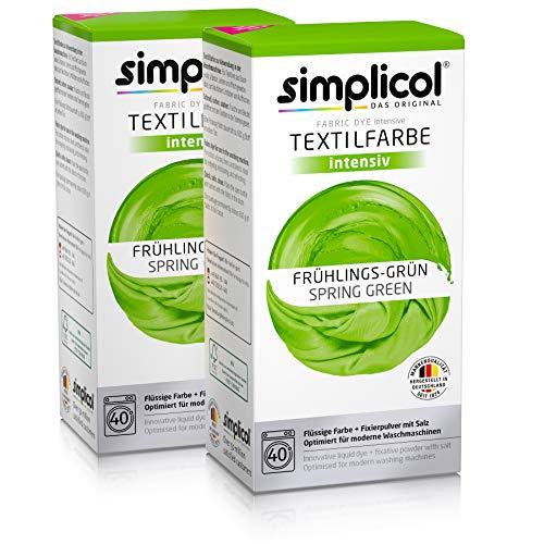 Simplicol Textilfarbe intensiv (18 Farben), Frühlings-Grün 1813 2er Pack, Hellgrün: Einfaches Färben in der Waschmaschine, All-in-1 Komplettpackung