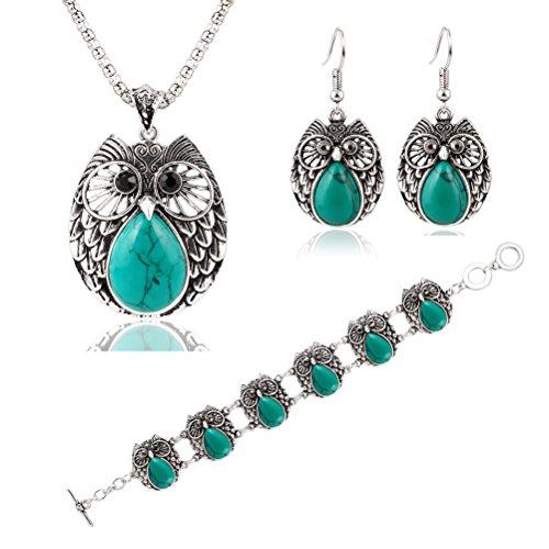 WINOMO Sweet Hibou pendentif Chaîne Collier Dangle Boucles D'oreilles Bracelet Serti avec Alliage-turquoise (Vert)