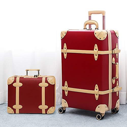 KGDUYH Maleta Moda con Equipaje de Cuero Vintage, Hombres y Mujeres, de Gran Capacidad, Maleta de Tranquilidad de 26/28 Pulgadas para Viajes de Negocios (Color : Red Set, Luggage Size : 20')