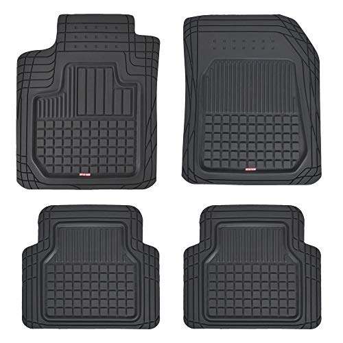 Motor Trend Flextough Semi-Custom Fit Car Floor Mats for Auto - Odorless Heavy Duty Rubber Floor Liners 4 Pieces Set - Trimmable (Black), Model Number: MT180