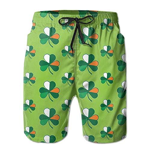 LarissaHi Irish Flag Shamrocks Men Badeanzüge Hosen Pocket L