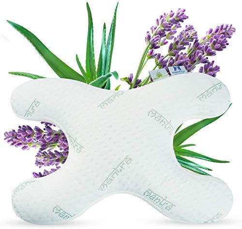 Lelekka Mantra - Cuscino per dormire contro le rughe del sonno, per chi dorme sul fianco, con 2 rivestimenti con estratto di lavanda ed aloe vera