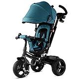 CIGONG Triciclo Manual for niños Implementación bidireccional de 1-5 años de Edad, Cochecito de bebé Pedal Bicicleta Plegable, Verde Oscuro, 80x47x100cm Cochecito de bebé