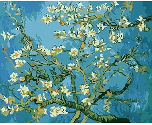 Obanban Van Gogh Aprikosenfarbe nach Zahlen Kits -40x50cm - für Erwachsene Kinder Senioren Junior Anfänger Acryl - DIY Ölgemälde Kits - Dekorationsgeschenke - (Ungerahmt)