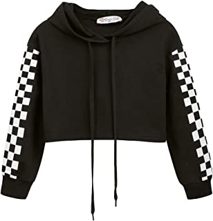 Danna Belle Girls Cropped Hoodies Long Sleeve Checkerboard Pattern Hooded Coat
