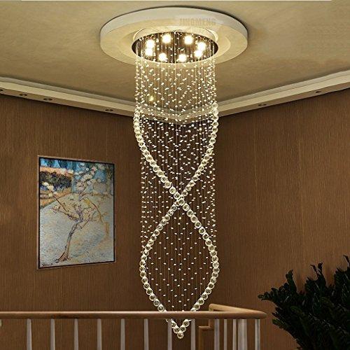Woonkamer-plafondlamp, trap, kristallen lampen, lange lampen-duplexvloer-gebouwen-landhuis-kristallen licht draait grote woonkamer gelijmde lampen, huishoudlampen, 3 lights / 30 * 80 cm, 8 lampen/60 x 200 cm.