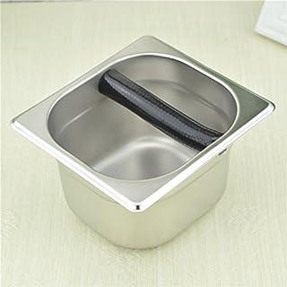 ステンレス鋼製 ノックボックス エスプレッソ コーヒー用品 コーヒーマシン用 銀色 (M)