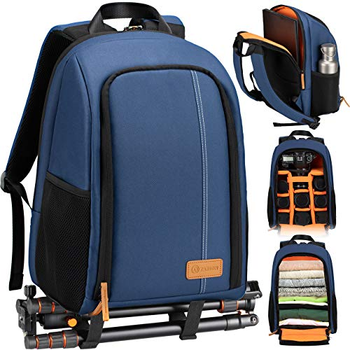 TARION Camera Backpack Waterproof Camera Bag Large Capacity Camera Case with 15 Inch Laptop Compartment Rain Cover for Women Men Photographer Lens Tripod Blue