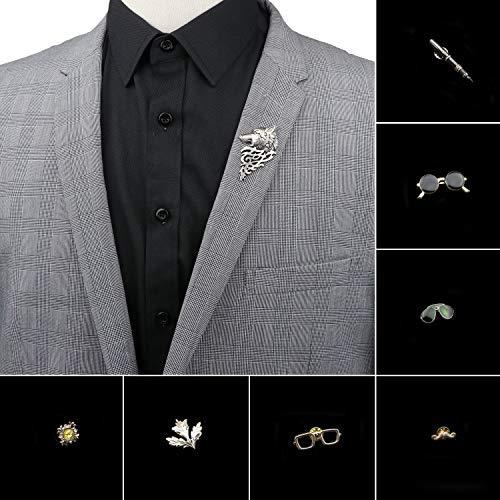 JWGD Herren Erweiterte Chic Broschen Wolf Sonnenbrille Pin-Klage-Schal-Revers-Stifte Uxedo Corsage-Hut-Hemd-Kragen-Pin-Party Tages Zubehör (Metal Color : 21)
