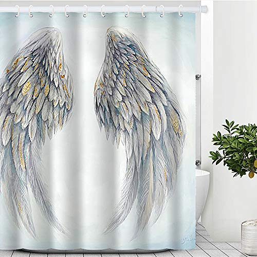 """Artinme Dreamy Angel's Wings White & Blue Print Beach Shower Curtain Waterproof Polyester Fabric Shower Curtain Set with Hooks Bathroom Decor 72"""" x 72"""" …"""