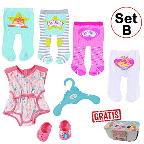 Zapf - Baby Born - Kleidungsset mit 4 Strumpfhosen + Pyjama mit Clogs (Set B)