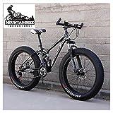 NENGGE Doble Suspensión MTB con Neumático Gordo, Profesional Adulto Hombre Mujer Bicicleta Montaña, Doble Freno Disco Bicicleta BTT, Cuadro de Acero,Negro,26 Inch 7 Speed