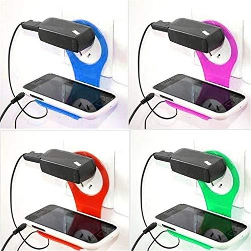 Mobiele telefoon muur plug socket voor opladen rack hang-houder opvouwbare mode kleurrijk voor mobiele telefoon oplader 4 stuks.