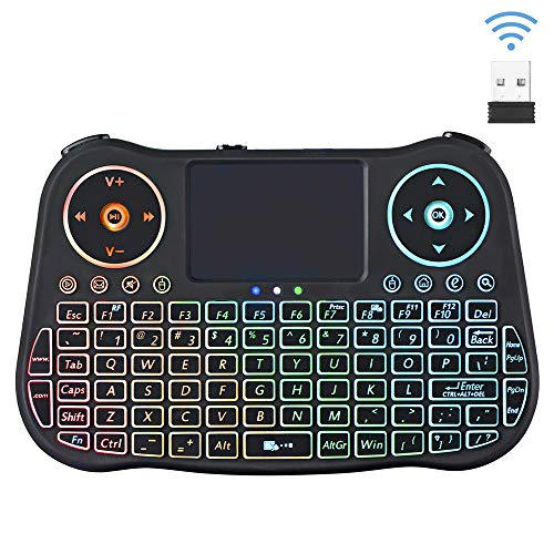 Mini Wireless Keyboard with Touchpad Mouse Combo, Rechargeable QWERTY Keyboard, 7 RGB Backlit Portable Remote Control Gaming Keyboard for Android TV Box, PC, PAD,PS3, Xbox 360