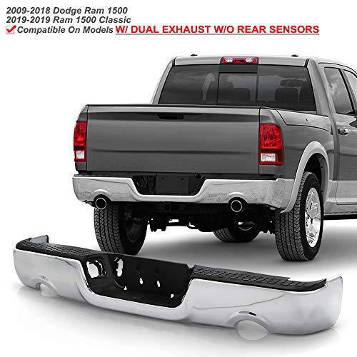 ACANII - For 2009-2018 Dodge Ram 1500 w/Dual Exhaust w/o Sensor Holes Chrome Steel Rear Step Bumper Complete Assembly