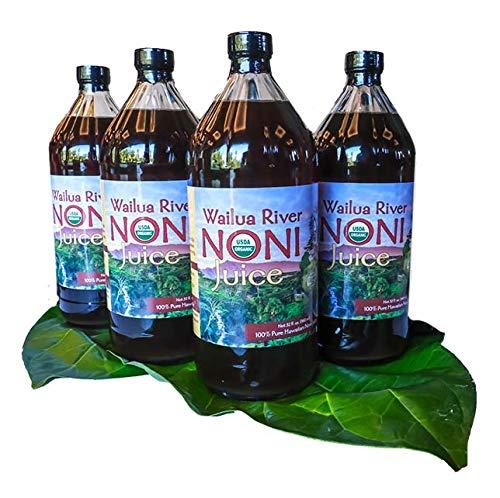 Wailua River Noni Juice - 100% Organic Authentic Hawaiian Noni Juice - USDA Certified Organic – Grown on the Island of Kauai - 4 Quarts