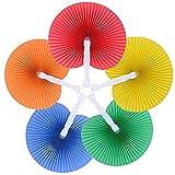 60pcs Abanico Pai Pai de Papel Plegable Redondo para Boda Fiesta Cumpleaños Ceremonia Matrimonio 5 Colores Paper Fan
