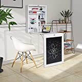 COSTWAY Folding Wall Mounted Drop-Leaf Table, Space Saving Floating Dining Table with Adjustable...