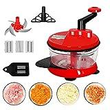 FGHJKOO Picadora manual rápida, fácil y potente Picadora de verduras Cortadora manual de alimentos para ajo, cebolla, tomate /Comida rallada y desmenuzada/Picadora de mano exprés
