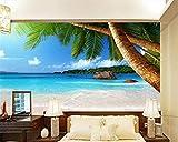 BYUVZHJ Fond d'écran HD Bord de mer cocotier Plage TV Fond Mur Salon Chambre Fond 3D...