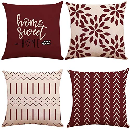 YC-KITCHEN Pillow Covers 18x18 Set of 4, Modern Sofa Throw Pillow Cover, Decorative Outdoor Linen Fabric Pillow Case for Couch Bed Car 45x45cm (Wine Red, 18x18,Set of 4)